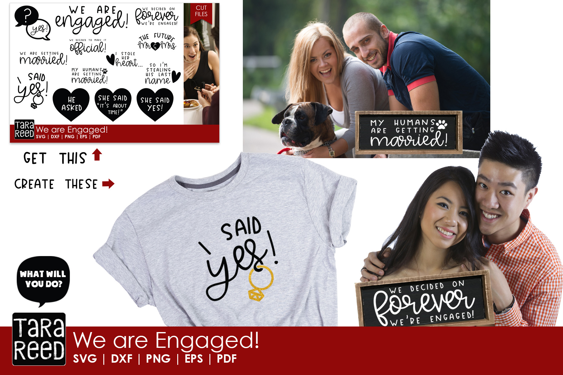 We are Engaged! - Wedding SVG and Cut Files for Crafters example image 2