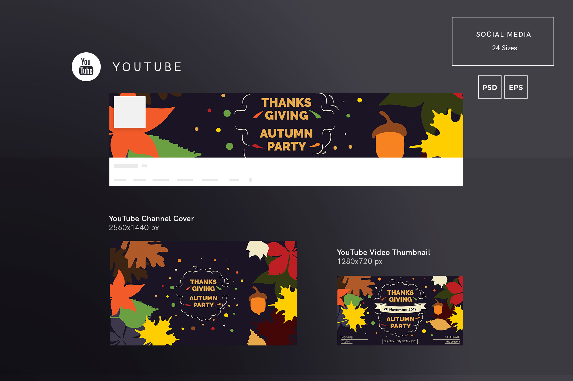 Thanksgiving Autumn Party Design Templates Bundle example image 7