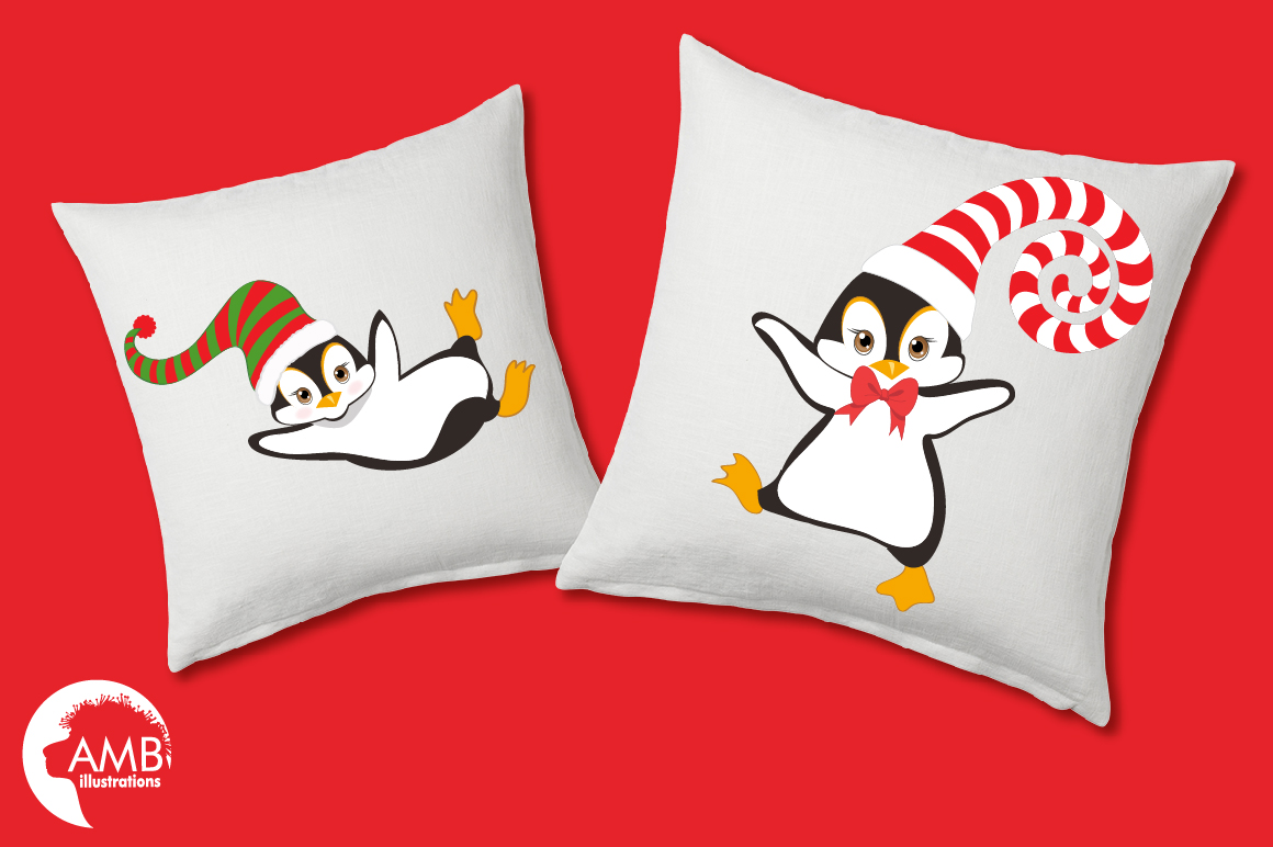 Winter Penguins cliparts, graphics, illustrations AMB-307 example image 2