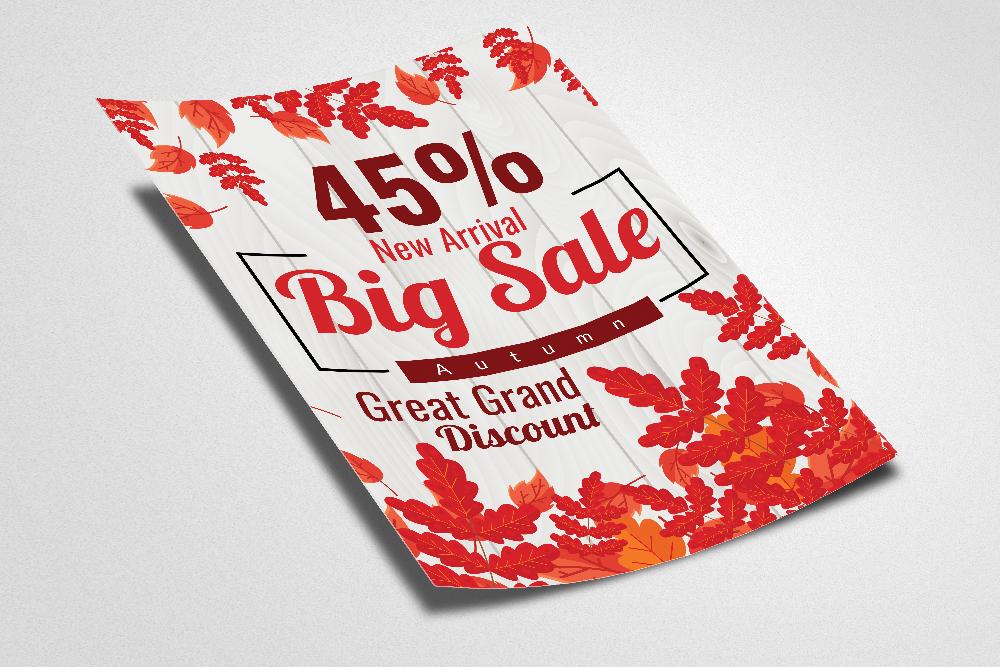 Autumn / Fall Season Big Sale Flyer Template example image 2