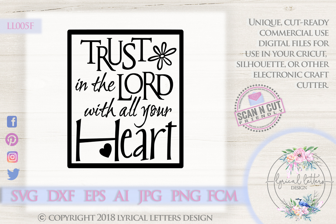 Trust In the Lord With All Your Heart Scripture SVG LL005F example image 1