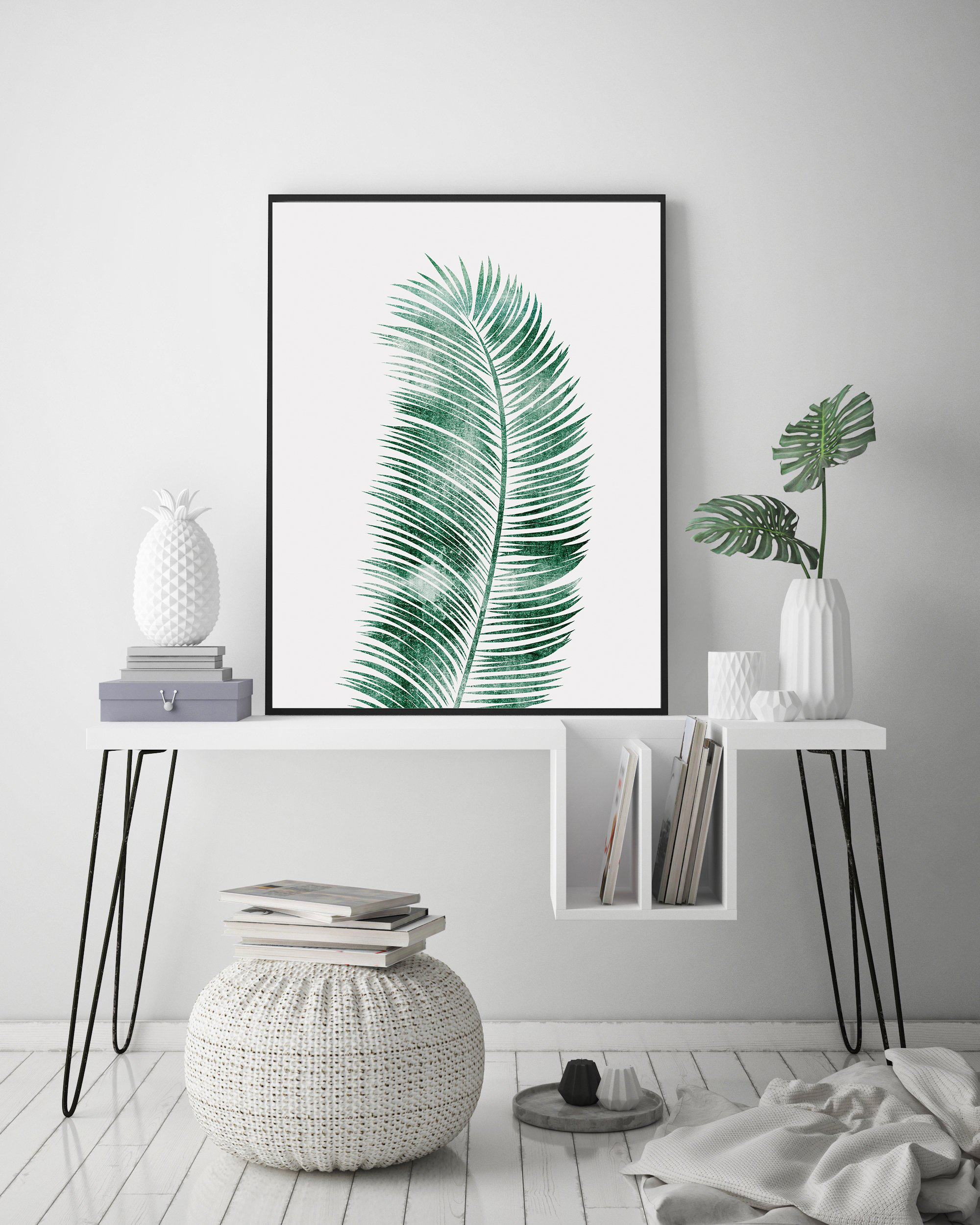 Tropical Leaf Print, Green Leaf Print, Palm Leaf Decor example image 2