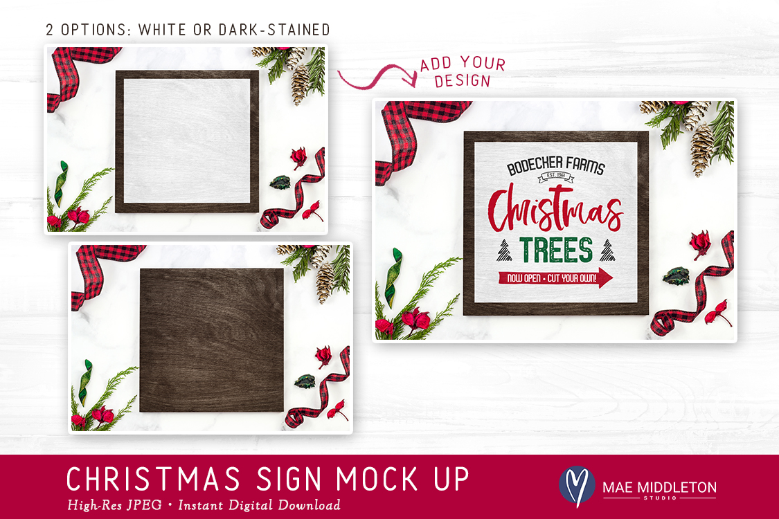 Christmas, Holiday Sign Mock ups, 2 VERSIONS! Styled photos example image 2