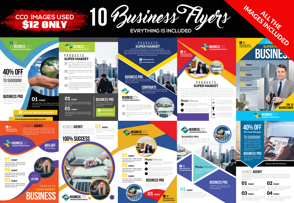 10 Multi Use Business Flyers Bundle example image 1
