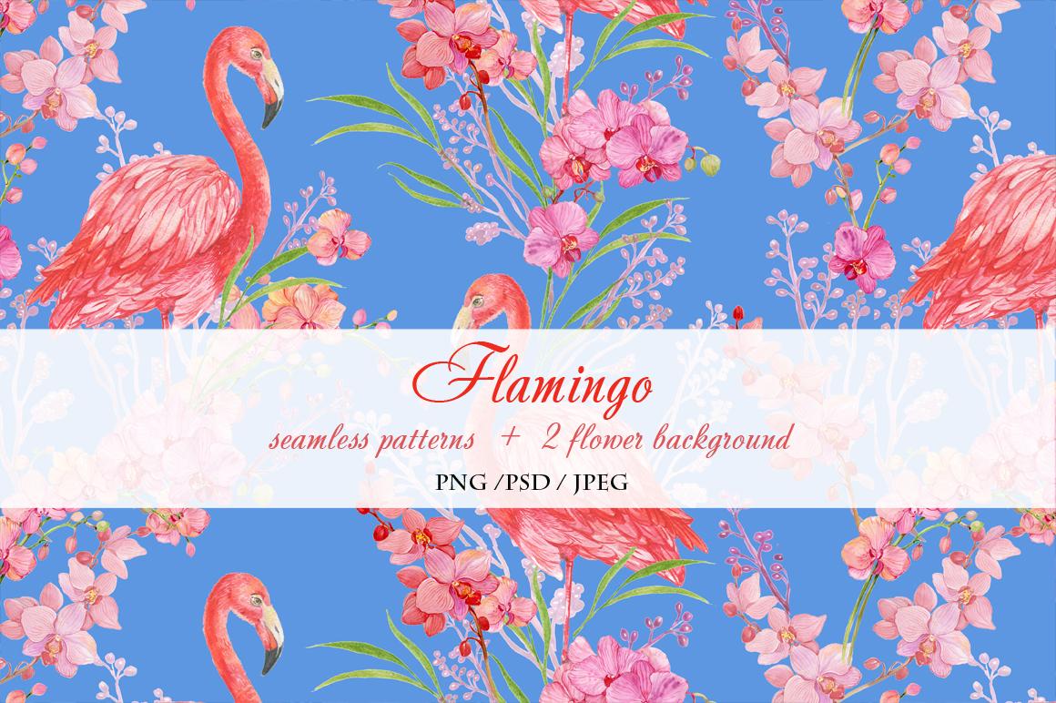 Flamingo seamless patterns example image 2