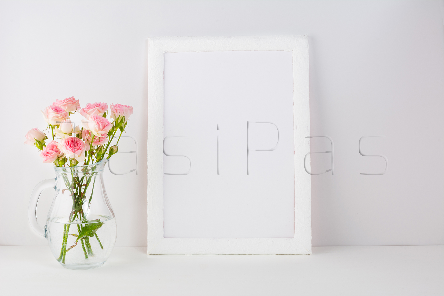 Frame mockup with pink roses example image 2