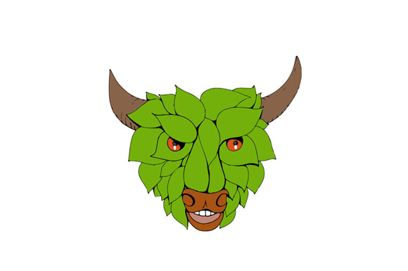 Green Bull Head Drawing example image 1