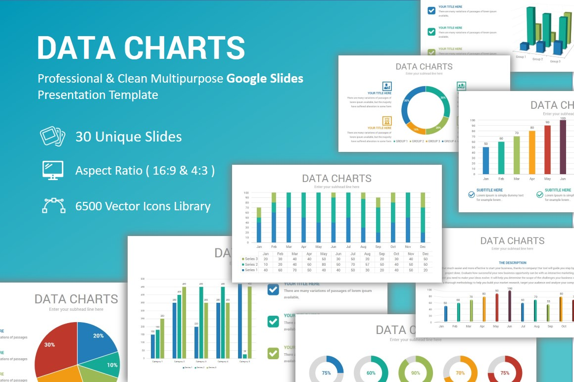 Data Charts PowerPoint Template example image 1