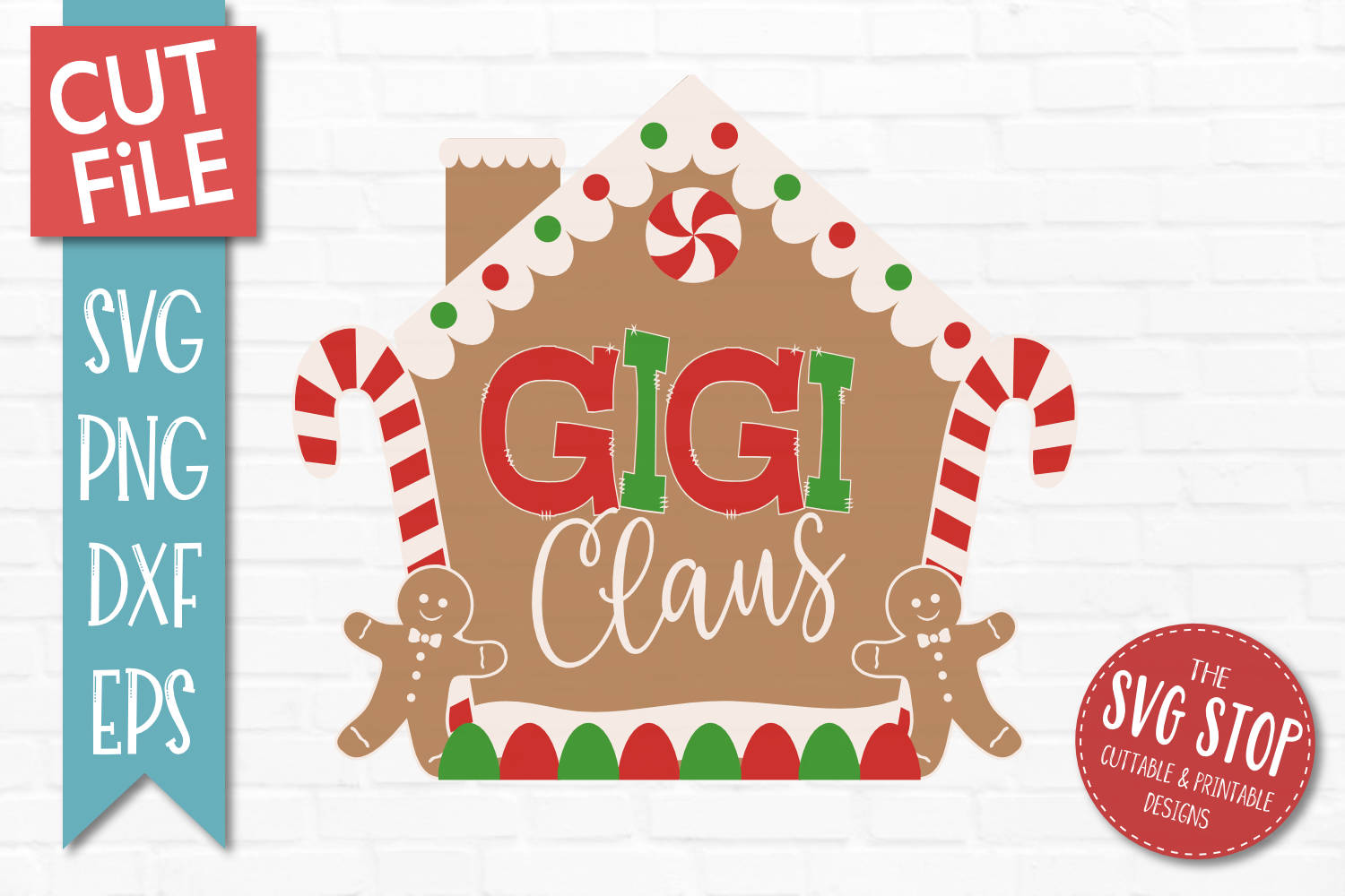Gigi Claus Gingerbread Christmas SVG, PNG, DXF, EPS example image 1