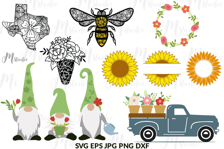 Spring Bundle svg Gnomes bee old truck monogram example image 1