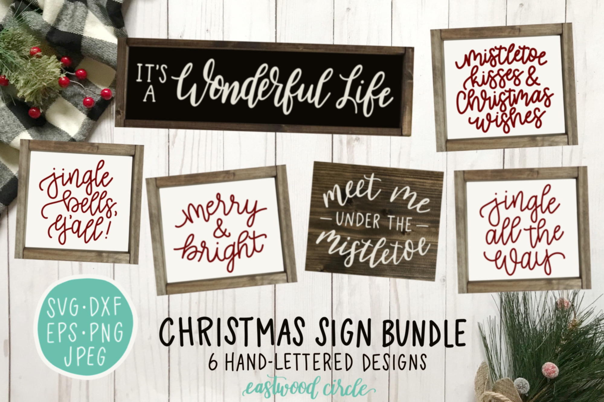 Christmas SVG Bundle - Hand Lettered SVG Files for Signs example image 1