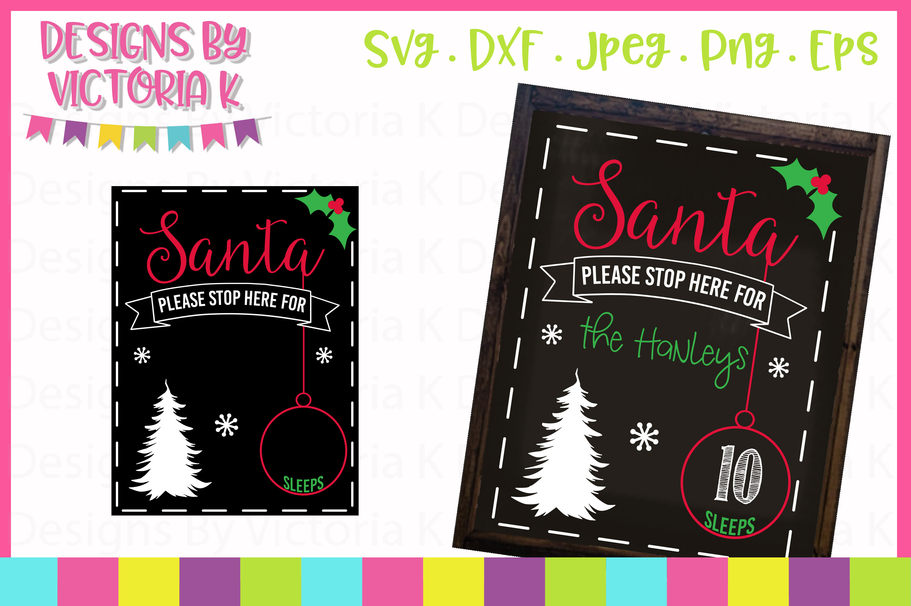 4 Christmas Countdown Chalkboard Designs, SVG, DXF, PNG example image 3