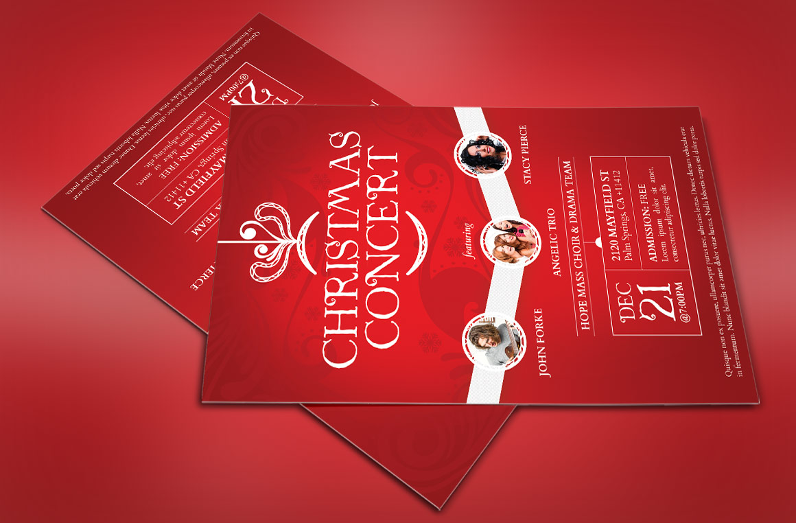 Red Christmas Concert Flyer Template example image 4