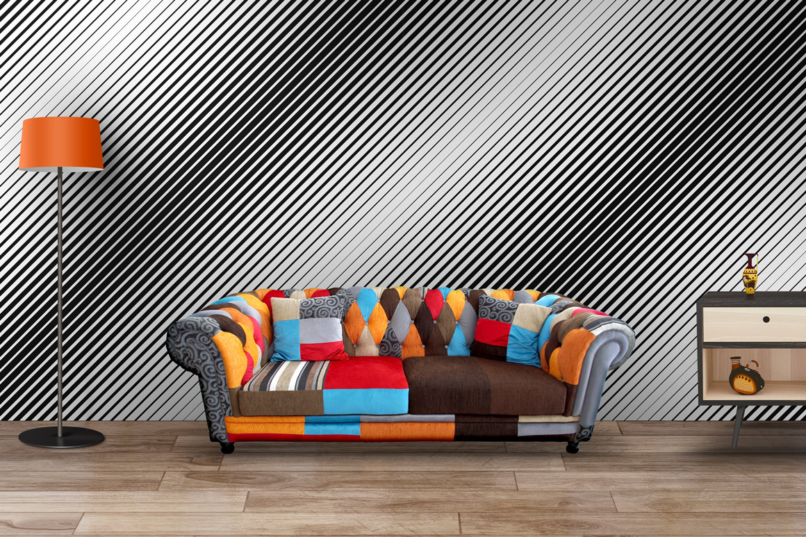 Striped halftone seamless patterns example image 6