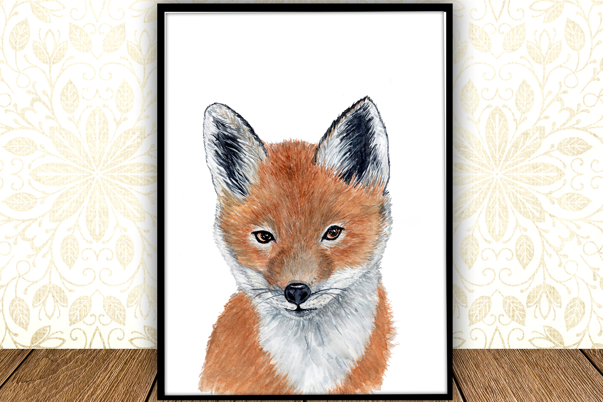 Baby Fox animal digital print Forest watercolor animals example image 1
