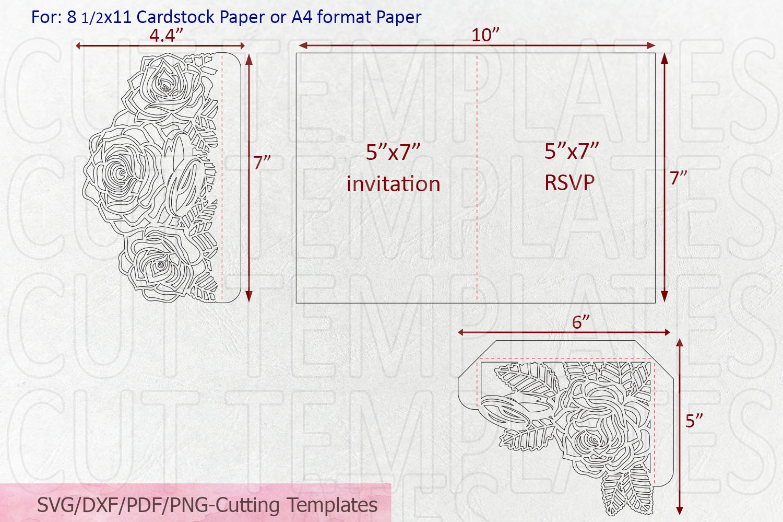 Roses wedding invitation Tri Fold Pocket Envelope set svg example image 10