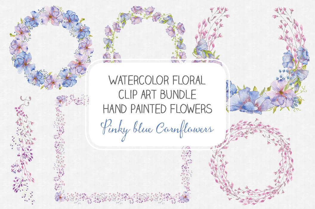 Watercolor clip art bundle of pinky blue Cornflowers example image 1