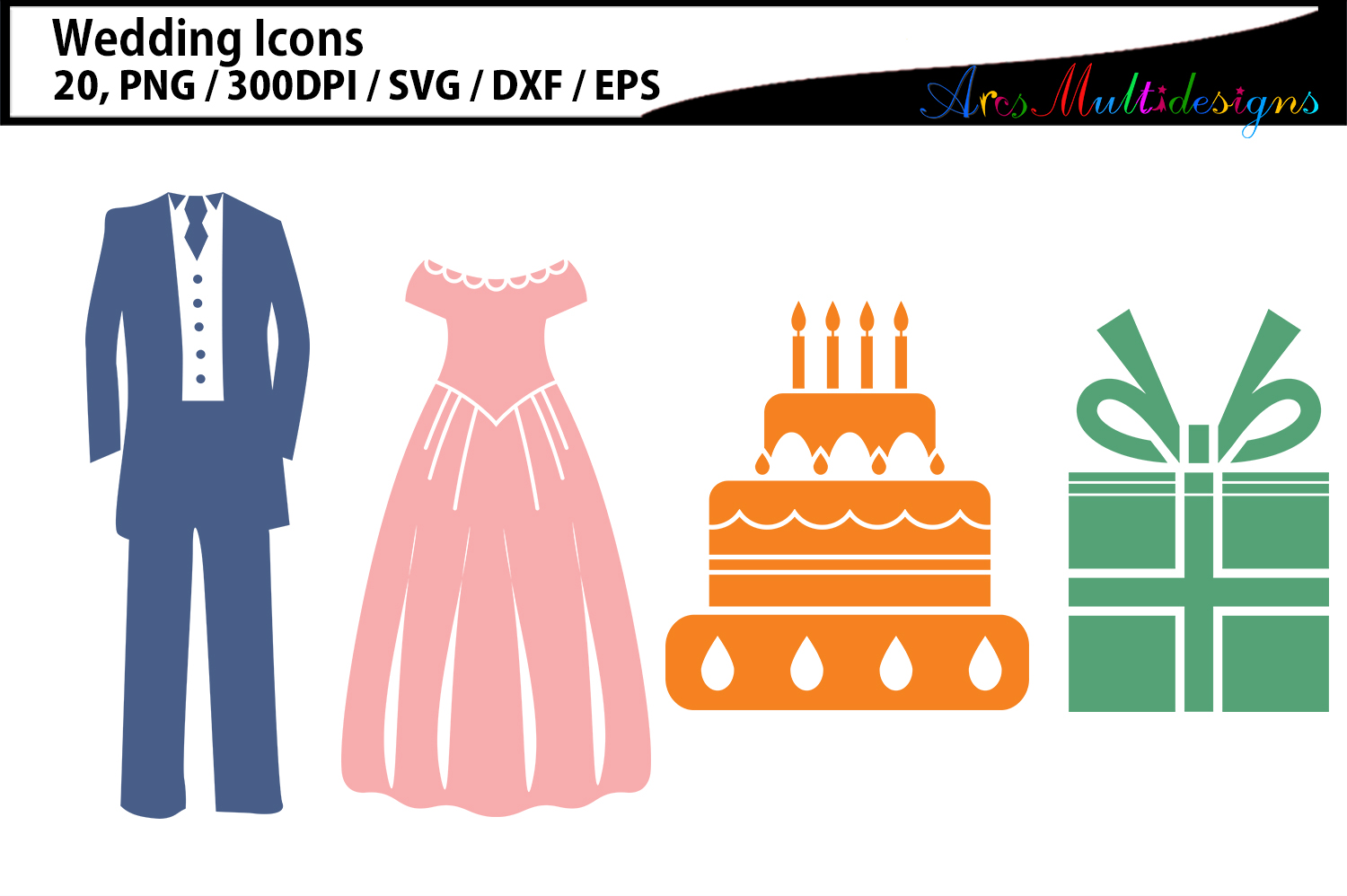 Wedding clipart SVG / Wedding party icon clipart example image 2