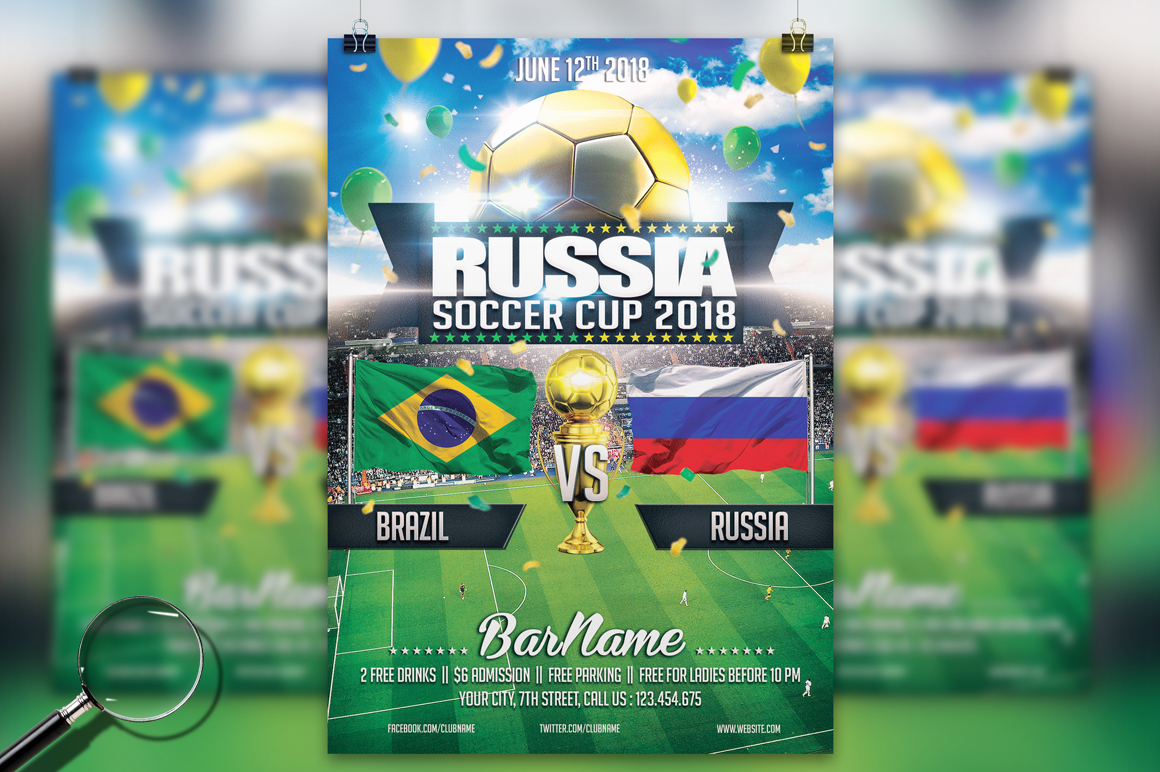 Soccer Russia World Cup 2018 | 2in1 Flyer Template example image 2