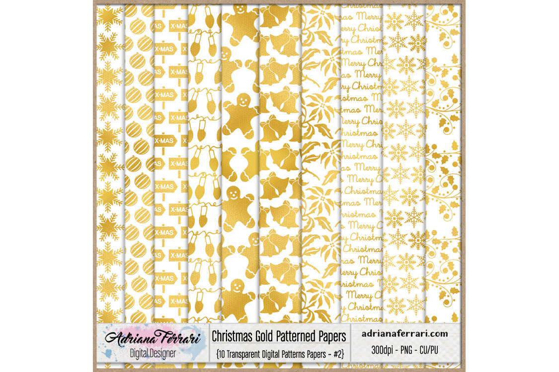 Christmas Gold Patterned Papers - Patterns 2 example image 1