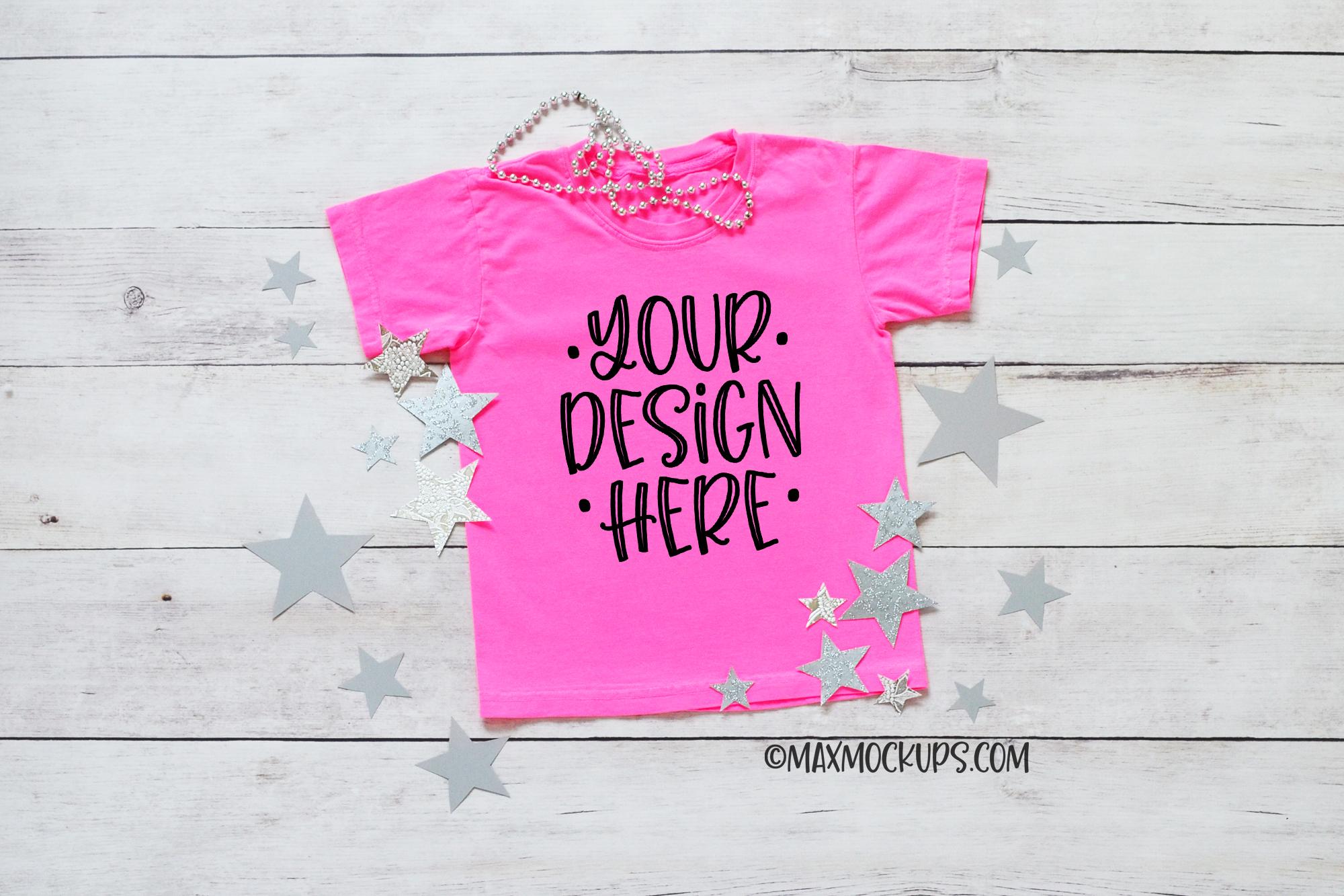 Kids pink shirt mockup, flatlay, silver stars example image 1