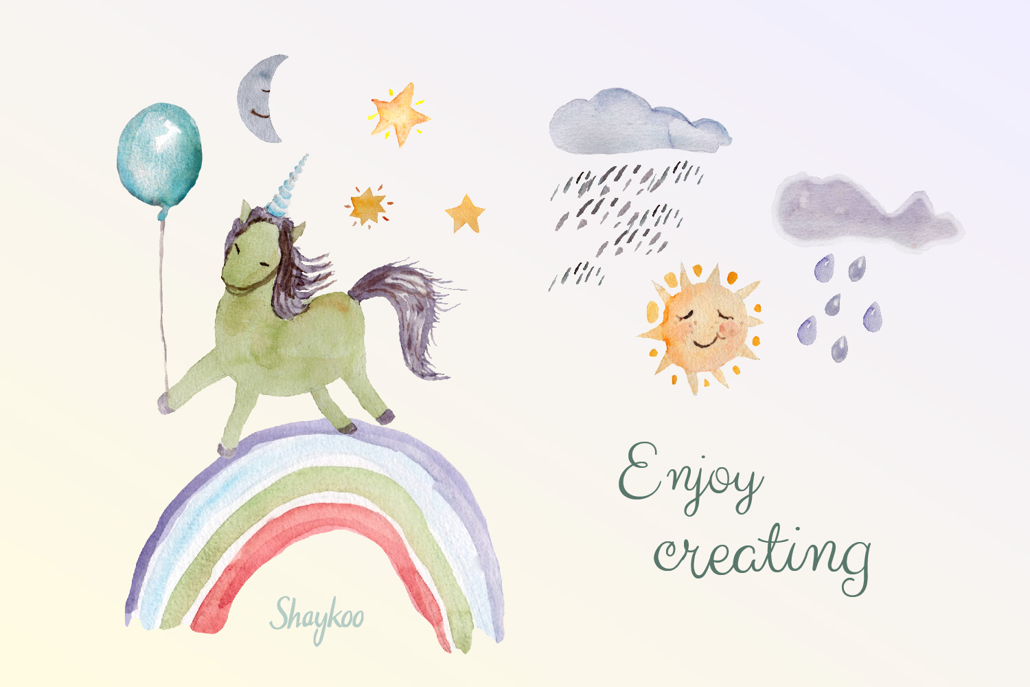 Unicorn Party Clipart, Watercolor Baby Unicorn Clipart example image 6