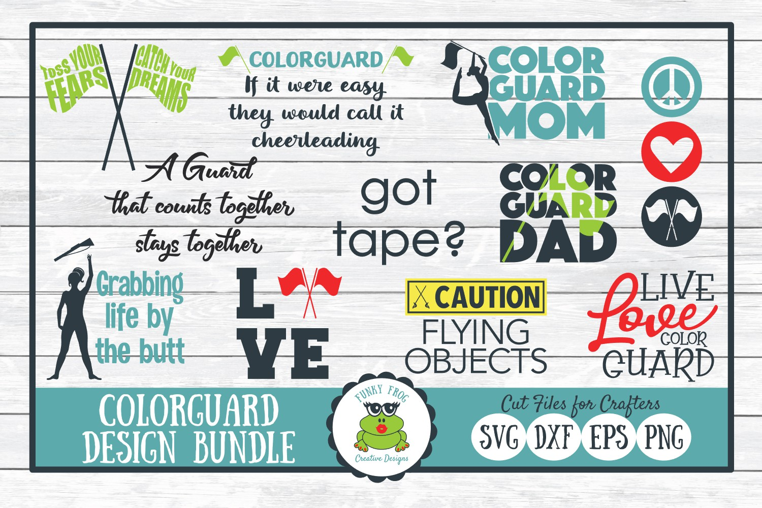 Color Guard SVG Design Bundle, Cut Files for Crafters example image 1