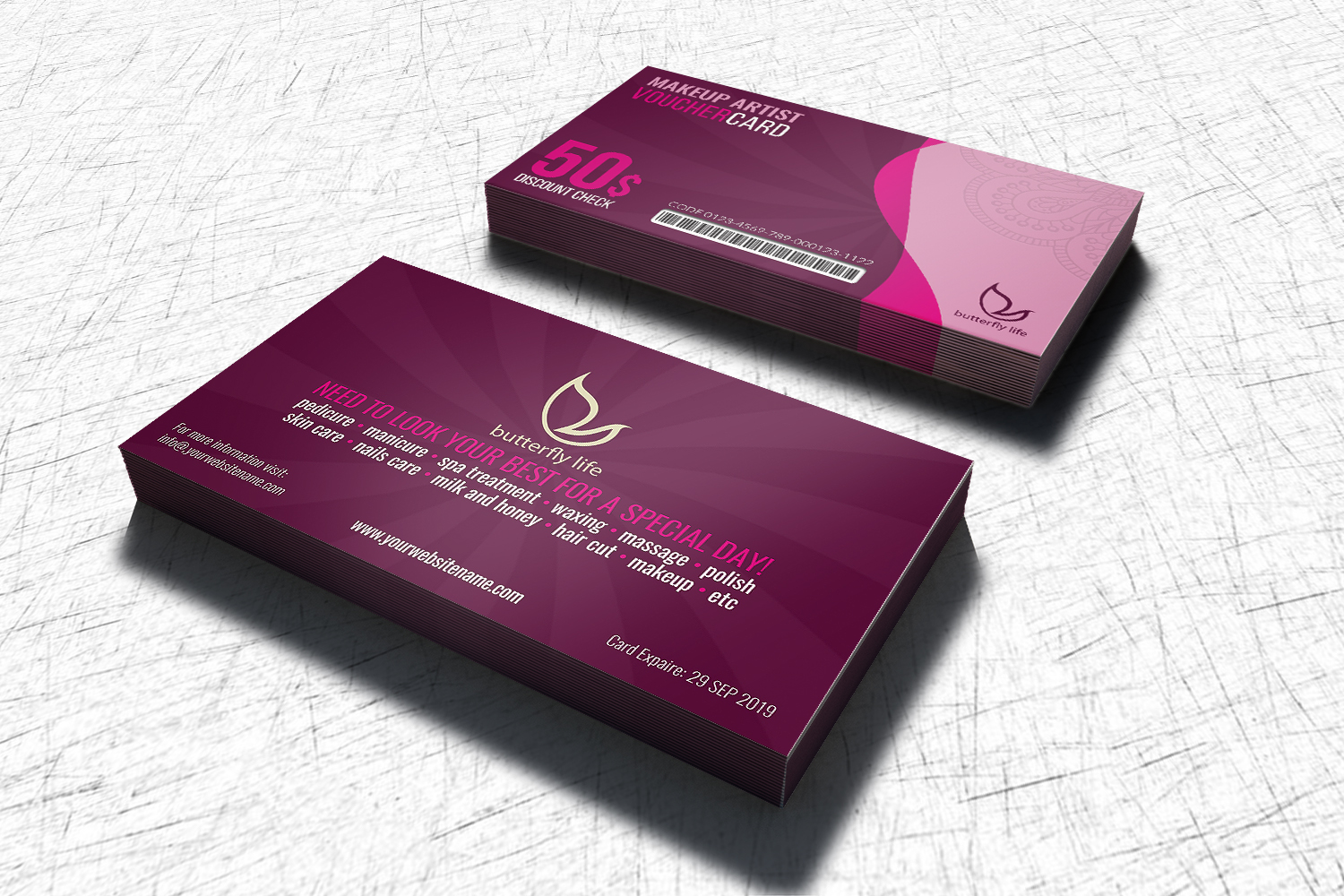 Beauty Center Gift Voucher Card Template example image 2