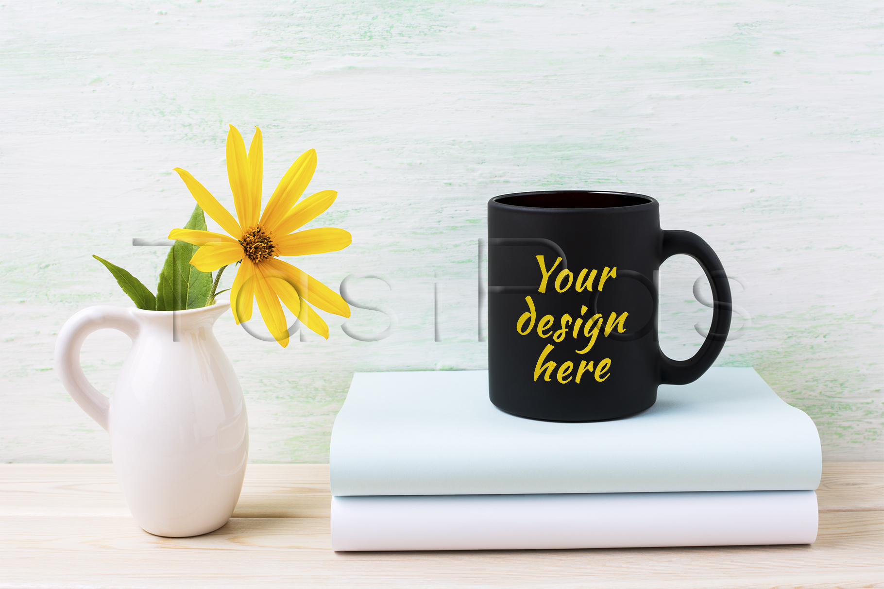 Black coffee mug mockup with yellow rosinweed flowers in pitcher example image 1
