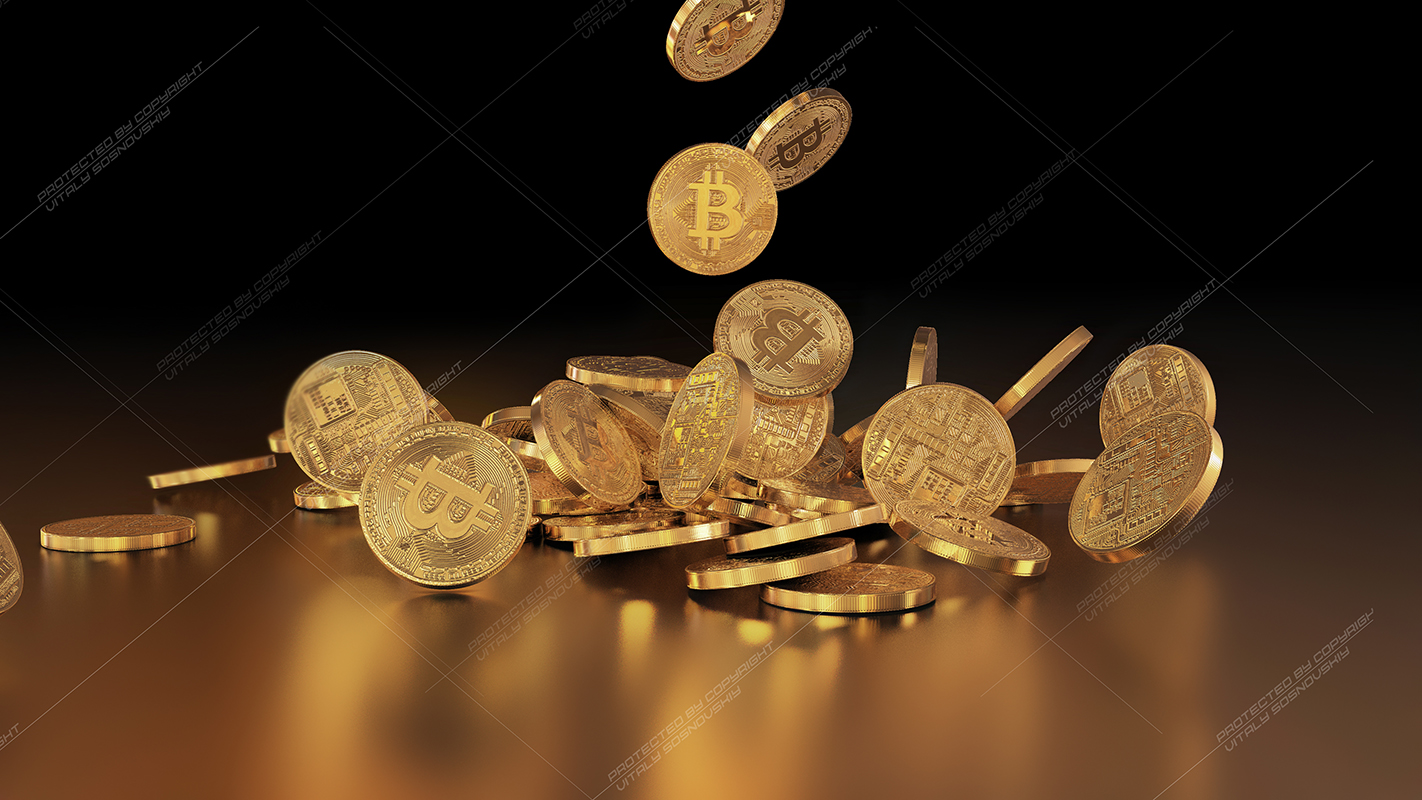 5  files - 3D rendering Bitcoins falling on a pile example image 5
