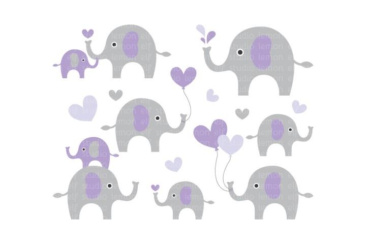 Cute Elephants-Digital Clipart (LES.CL10D) example image 1