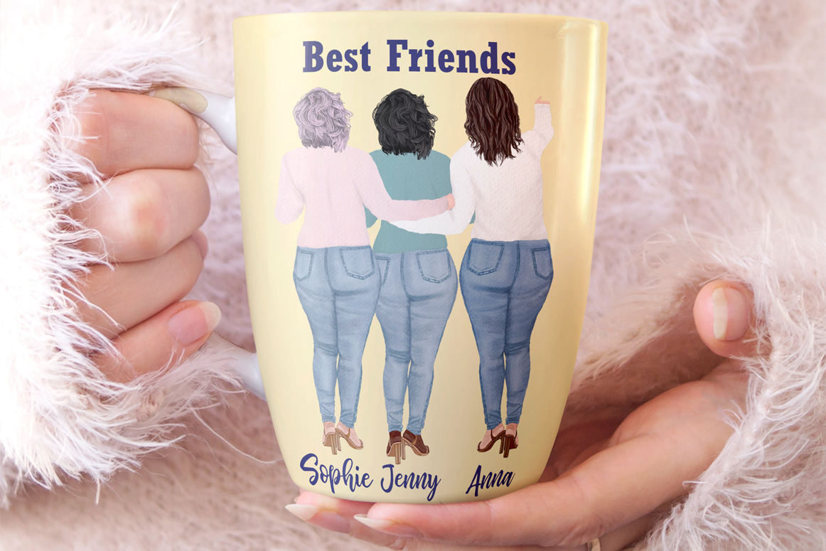 Curvy girls Plus size girls clipart Best Friends clipart example image 3