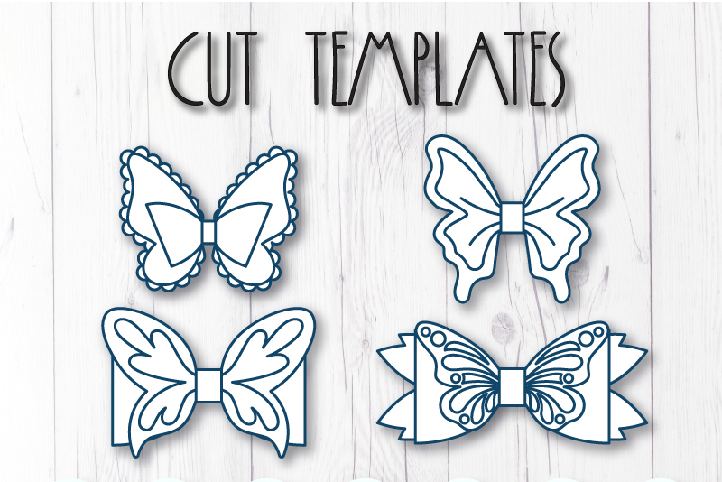 4 Hair bow template SVG, Butterfly faux leather bow template example image 6