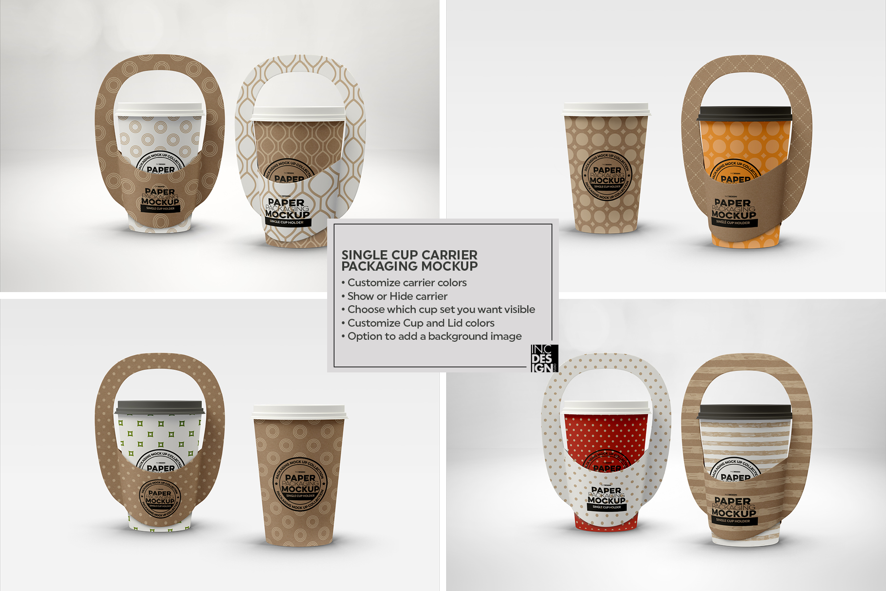 Single Cup Paper Carrier Packaging Mockup example image 2