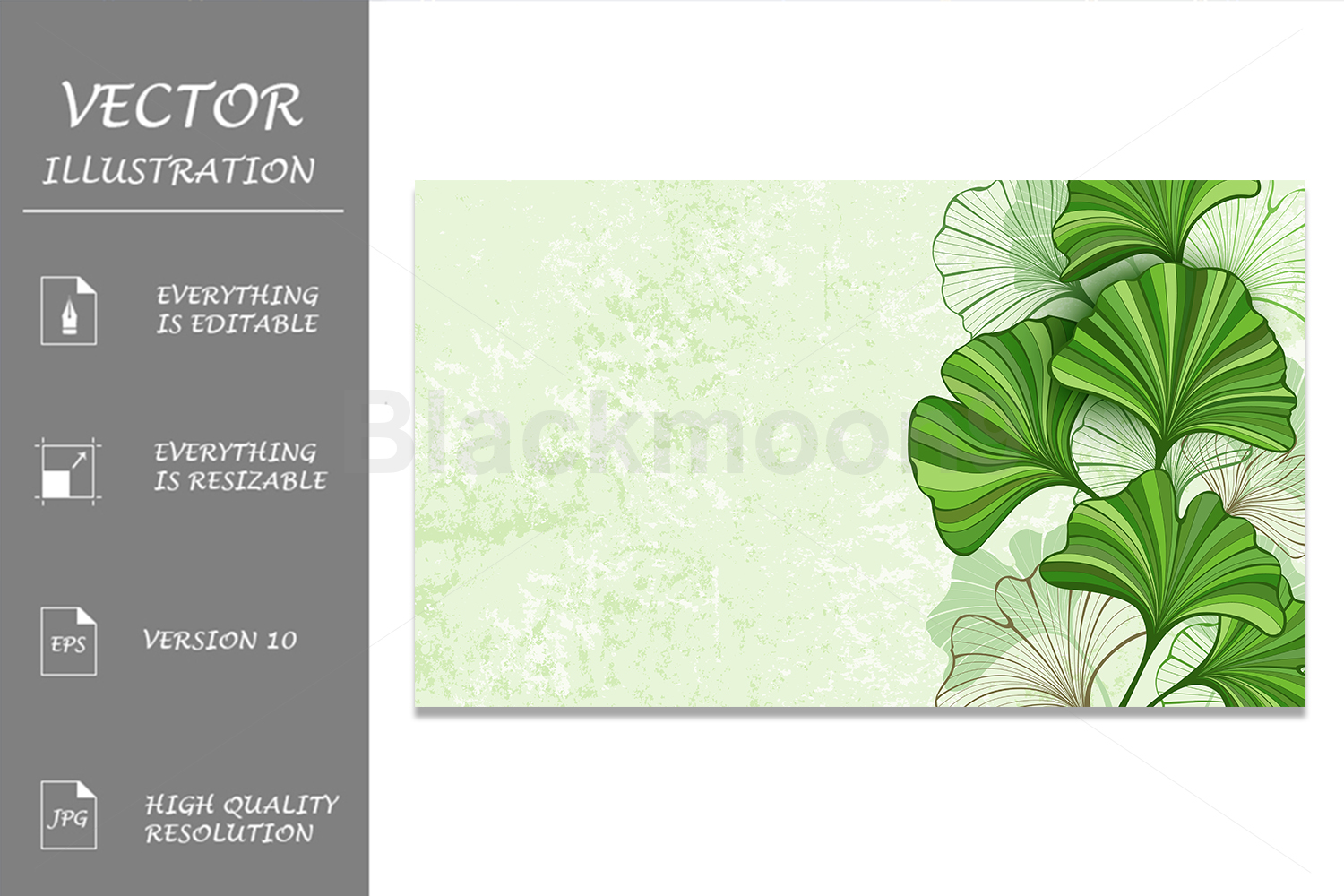 Green Background with Leaves of Ginkgo Biloba example image 1