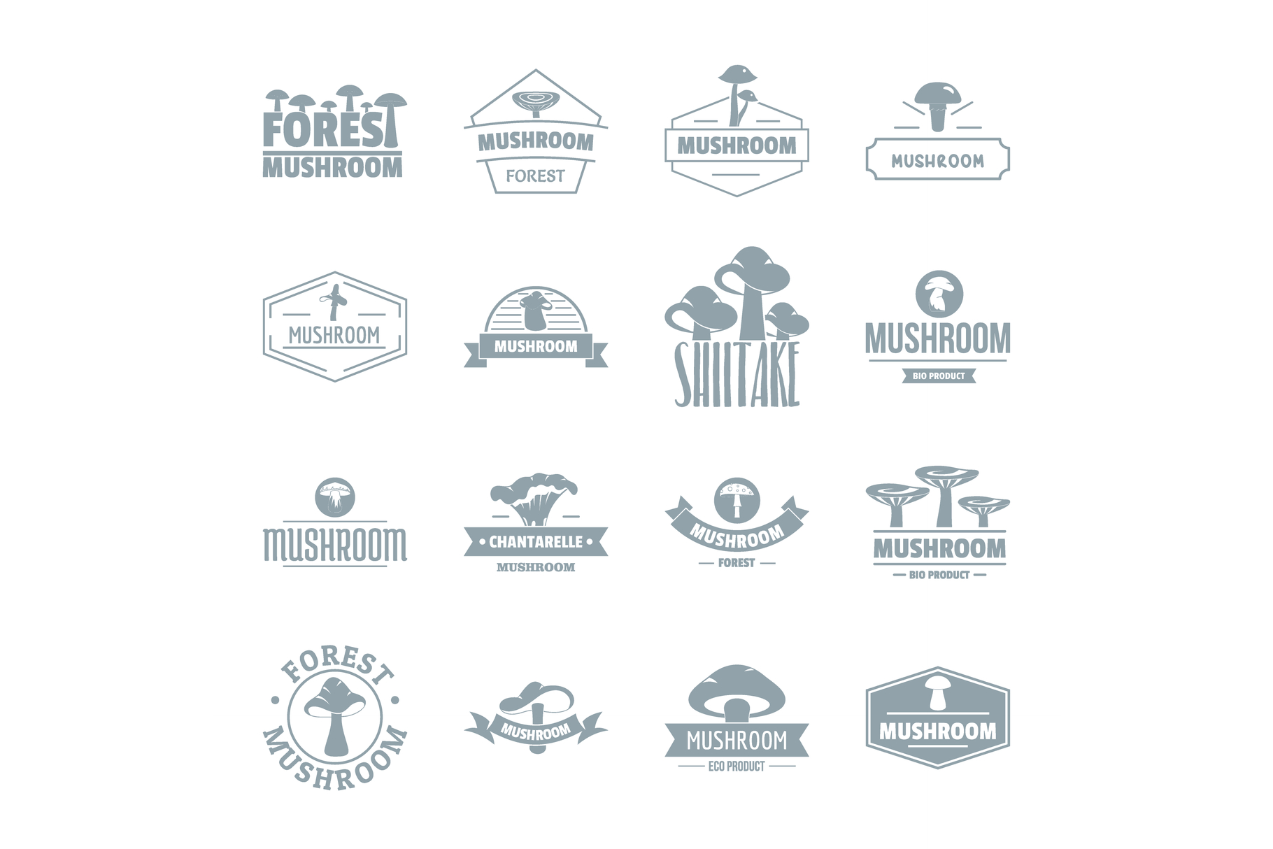 Mushroom forest logo icons set, simple style example image 1