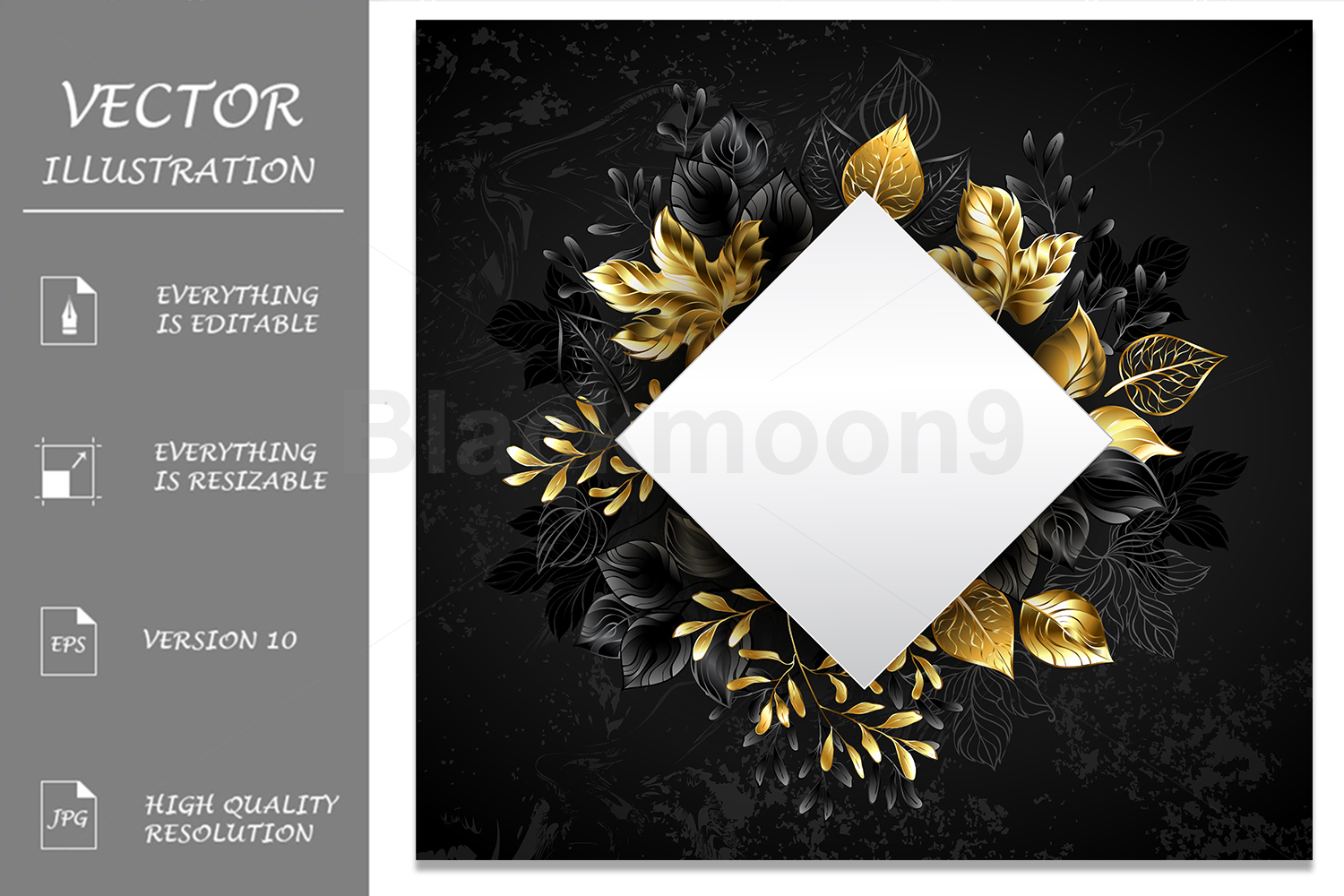 Rhombus with Golden Leaves example image 1