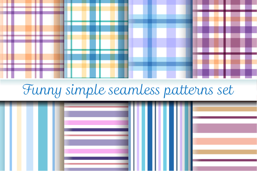 Funny simple seamless patterns set example image 1