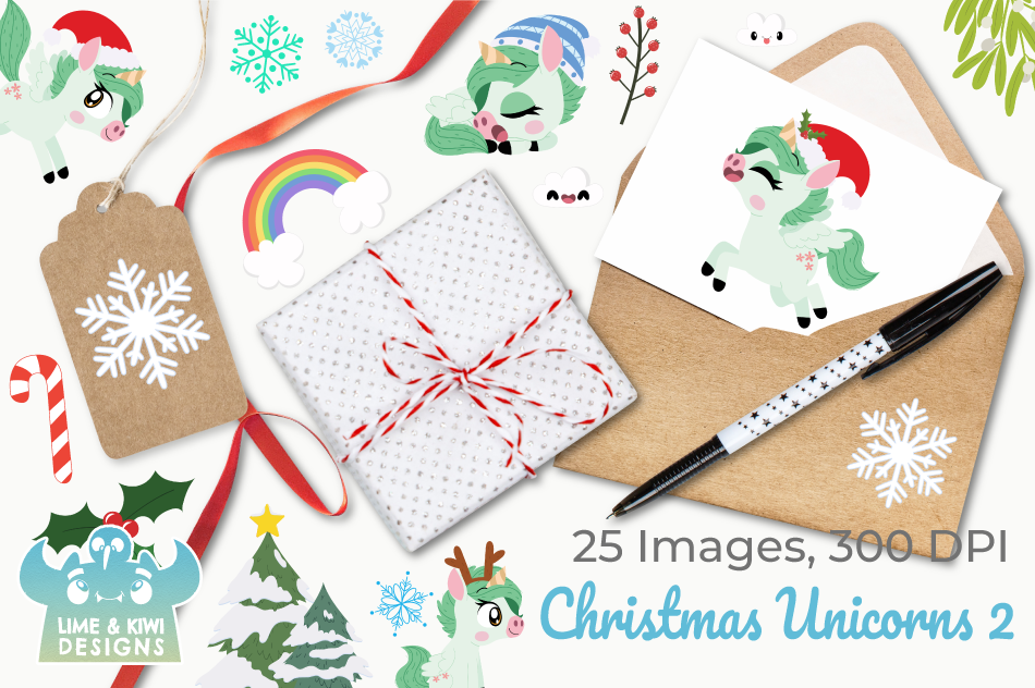 Christmas Unicorns 2 Clipart, Instant Download Vector Art example image 4