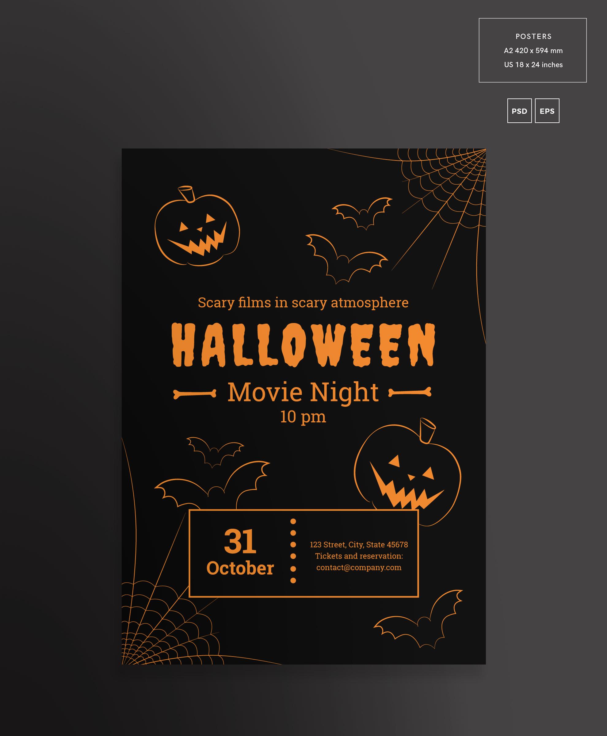 Halloween Movie Night Design Templates Bundle example image 3
