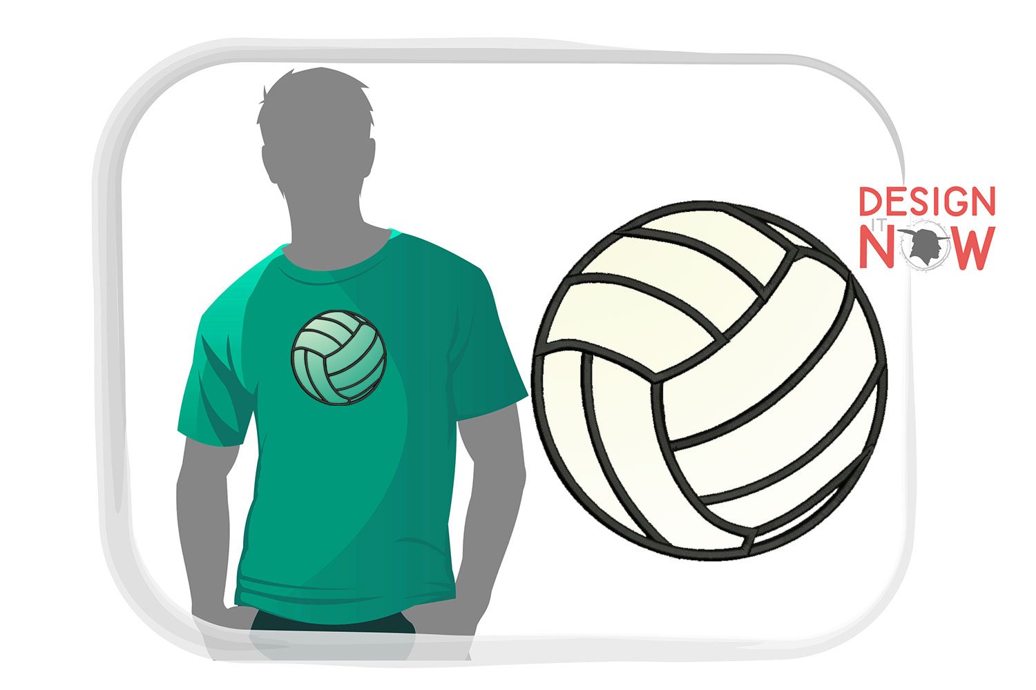Volleyball Applique Design, Sport Embroidery, Ball Applique example image 1