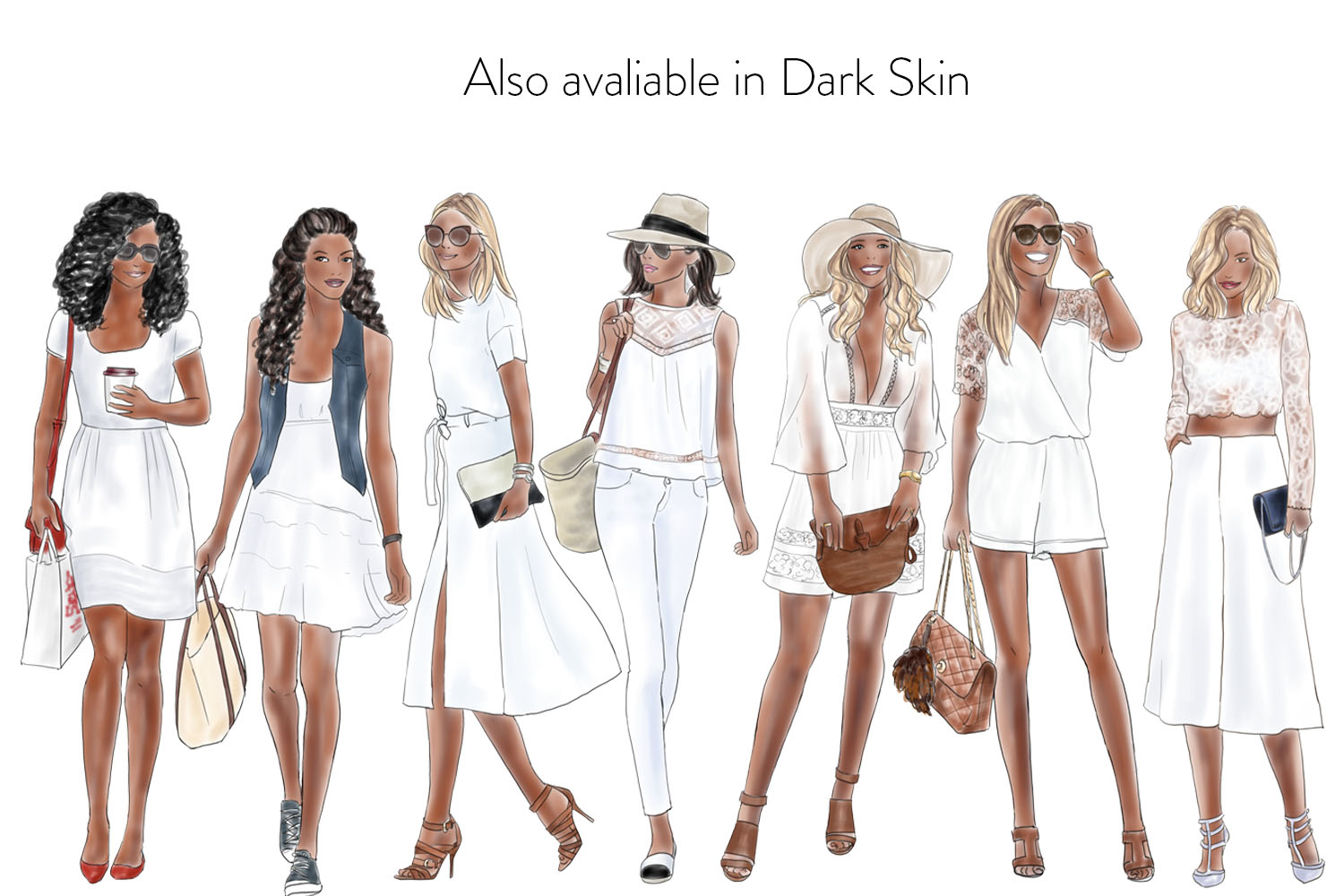 Watercolor Fashion Clipart - Girls in Summer White - Light Skin example image 2