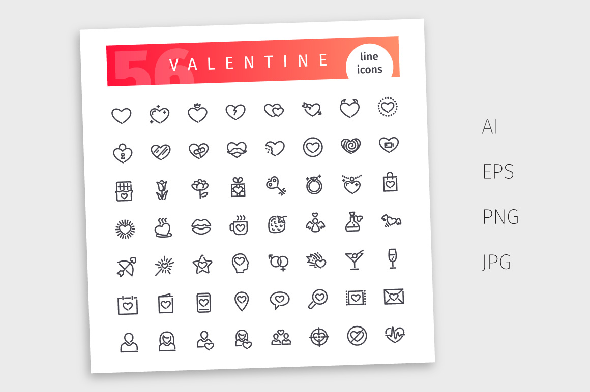 Valentine Line Icons Set example image 4