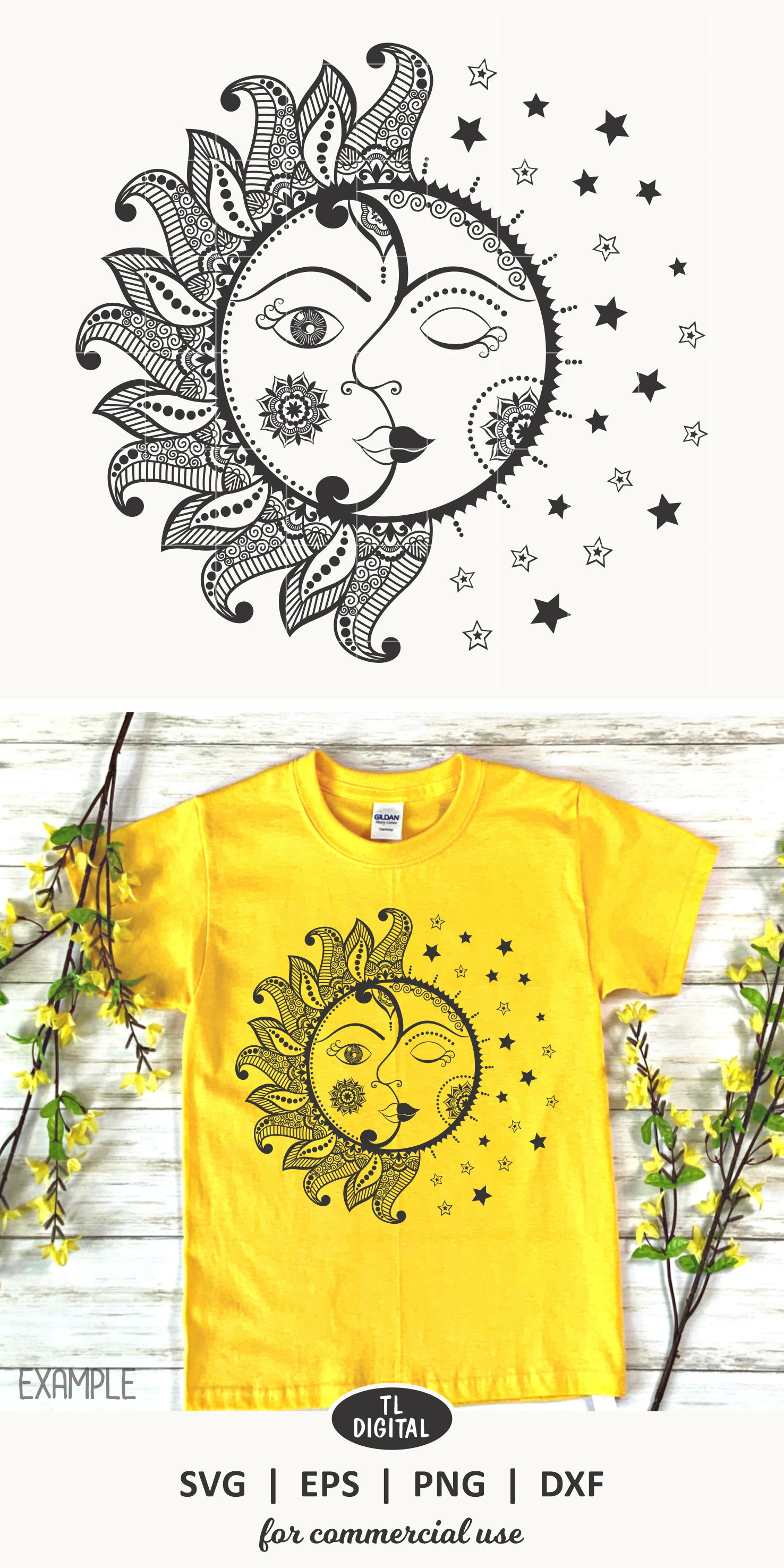 Sun and Moon Zentangle - Mandala SVG | EPS | PNG | DXF example image 2