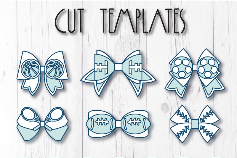 6 Sport Hair bow template SVG, Faux leather bow Cricut file example image 8