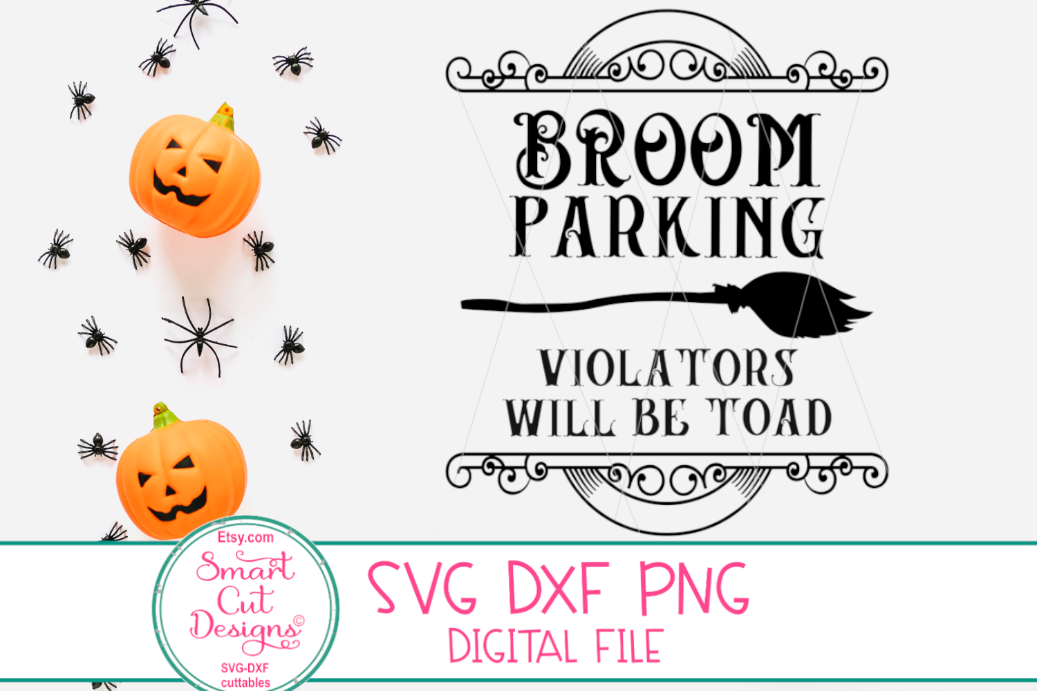 Broom Parking SVG, Funny Halloween SVG, Witch, Broom, Sign example image 3