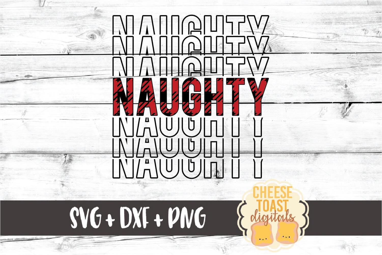 Naughty - Buffalo Plaid Christmas Mirror Word SVG PNG DXF example image 2