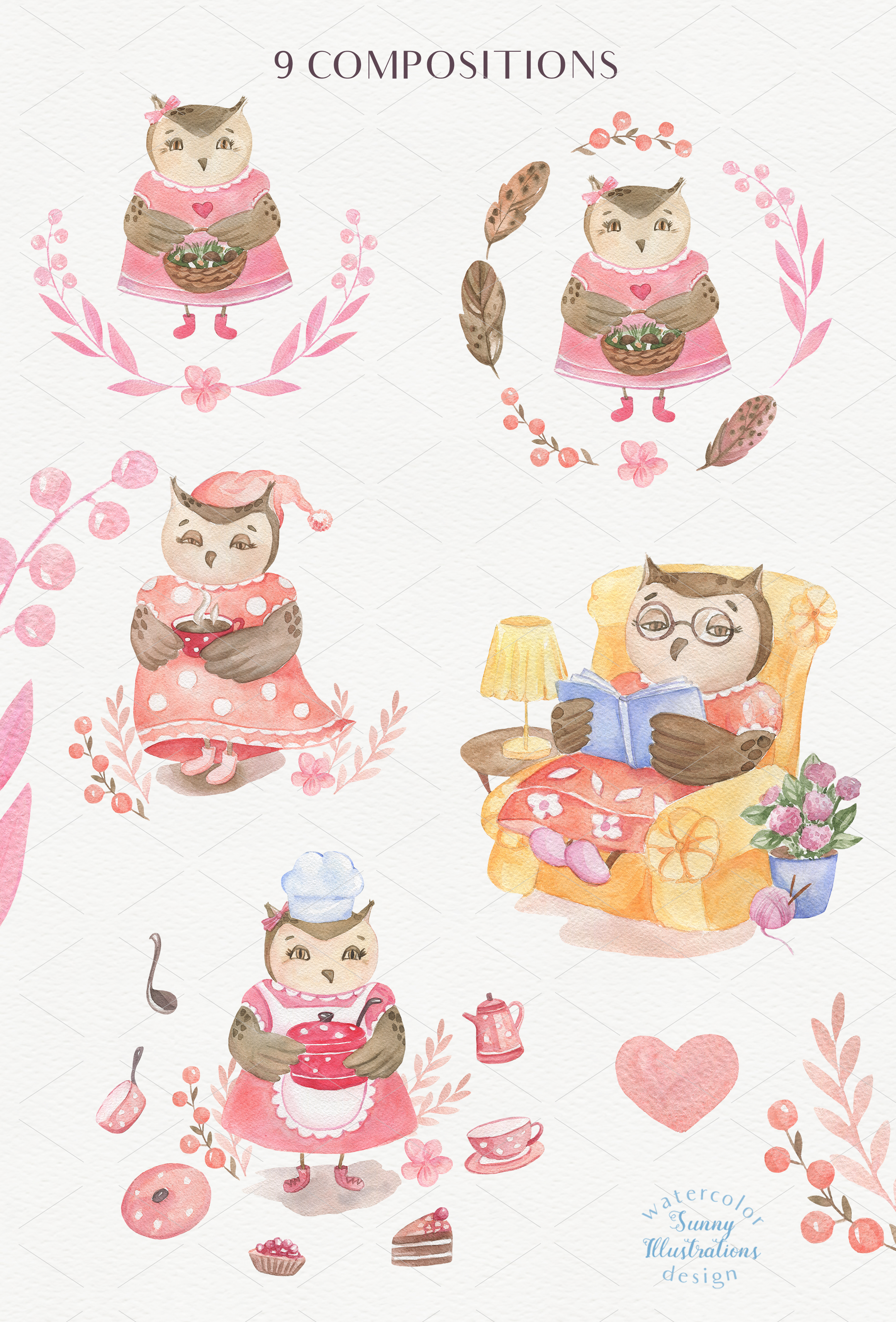 Cute Owls Collection example image 3