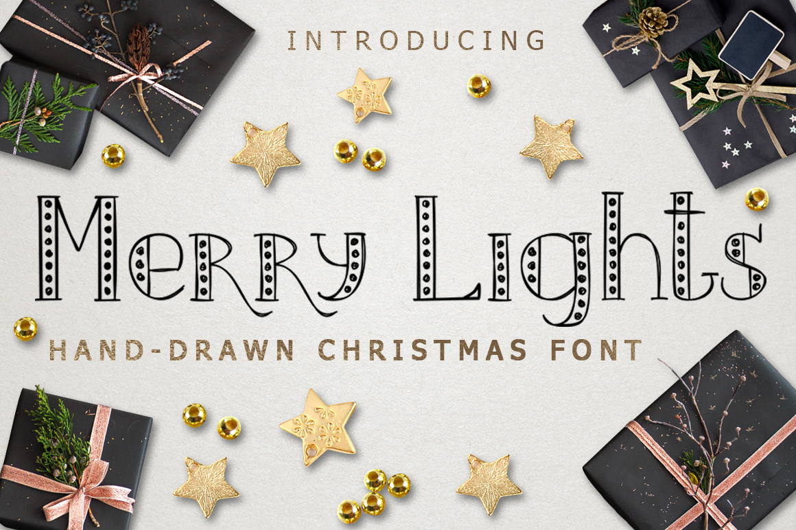 MERRY LIGHTS - hand drawn Christmas font example image 1