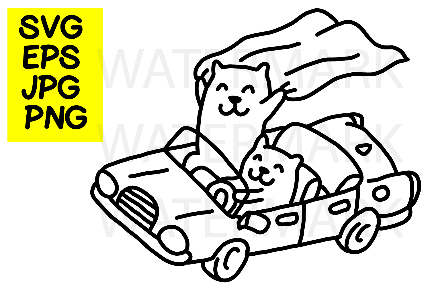 Cat driving car- SVG-EPS-JPG-PNG example image 1